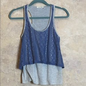 Grey tank with periwinkle crochet overlay